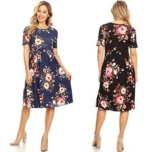 NEW Kate Floral Midi Dress - Navy